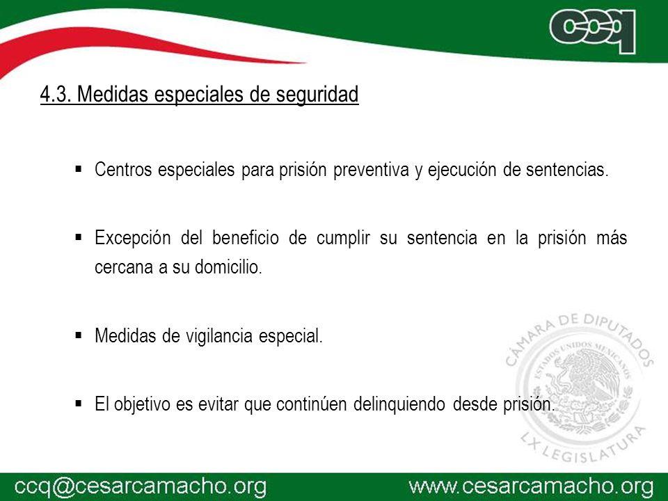 4.3. Medidas especiales de seguridad Centros especiales para prisión preventiva y ejecución de sentencias. Excepción del beneficio de cumplir su sente