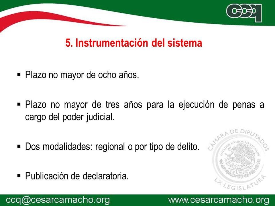 5.Instrumentación del sistema Plazo no mayor de ocho años.