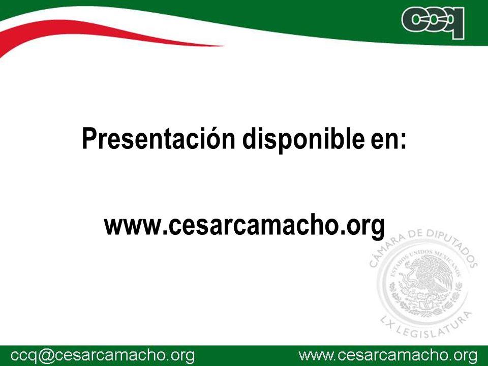 Presentación disponible en: www.cesarcamacho.org