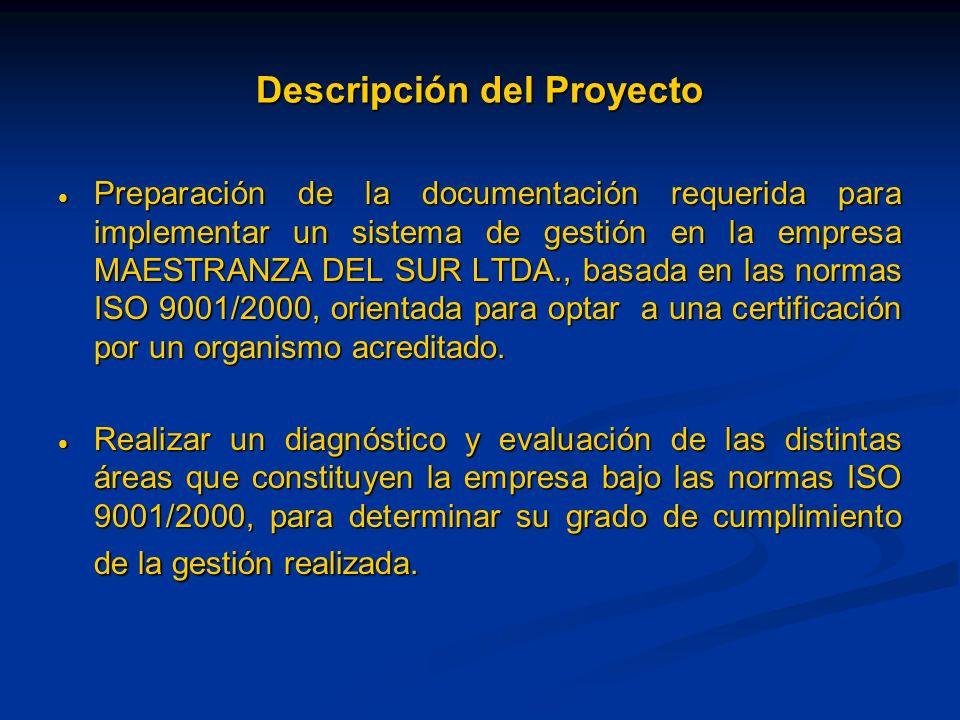 Descripción del Proyecto Preparación de la documentación requerida para implementar un sistema de gestión en la empresa MAESTRANZA DEL SUR LTDA., basa