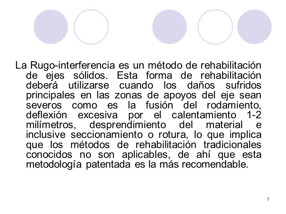 3 La Rugo-interferencia es un método de rehabilitación de ejes sólidos. Esta forma de rehabilitación deberá utilizarse cuando los daños sufridos princ
