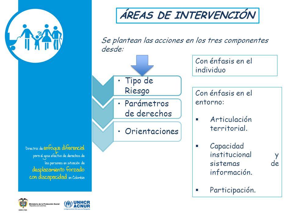 Se plantean las acciones en los tres componentes desde: Tipo de Riesgo Parámetros de derechos Orientaciones Con énfasis en el individuo Con énfasis en