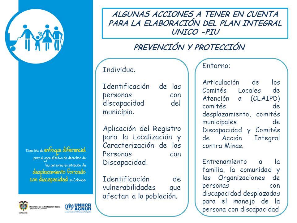 ALGUNAS ACCIONES A TENER EN CUENTA PARA LA ELABORACIÓN DEL PLAN INTEGRAL UNICO -PIU Individuo.