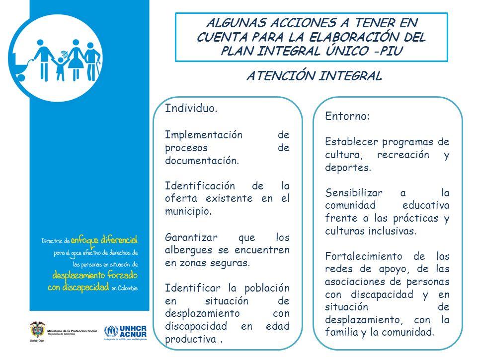 ALGUNAS ACCIONES A TENER EN CUENTA PARA LA ELABORACIÓN DEL PLAN INTEGRAL ÚNICO -PIU Individuo.