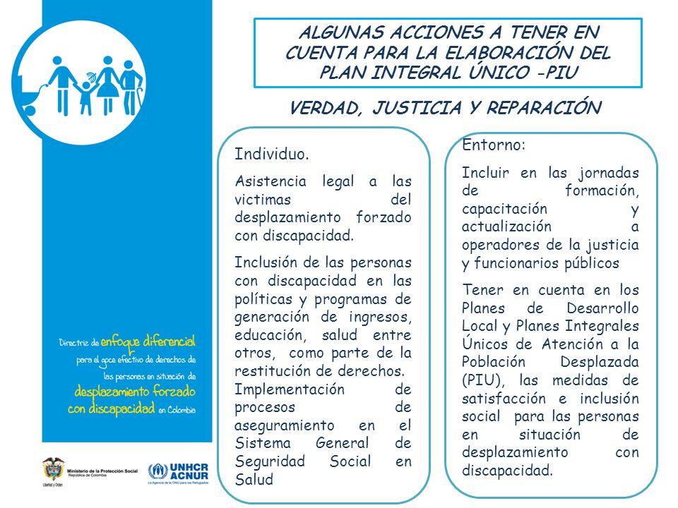 ALGUNAS ACCIONES A TENER EN CUENTA PARA LA ELABORACIÓN DEL PLAN INTEGRAL ÚNICO -PIU Individuo. Asistencia legal a las victimas del desplazamiento forz