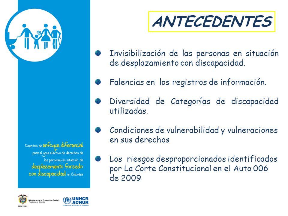 ANTECEDENTES Invisibilización de las personas en situación de desplazamiento con discapacidad. Falencias en los registros de información. Diversidad d