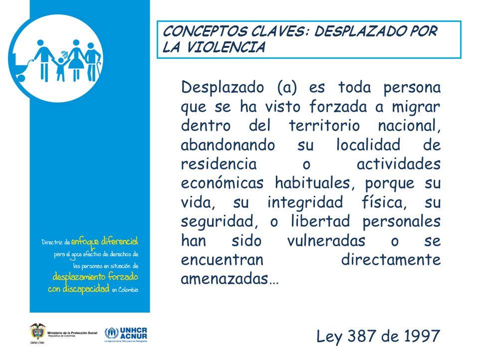 CONCEPTOS CLAVES: DESPLAZADO POR LA VIOLENCIA Desplazado (a) es toda persona que se ha visto forzada a migrar dentro del territorio nacional, abandona