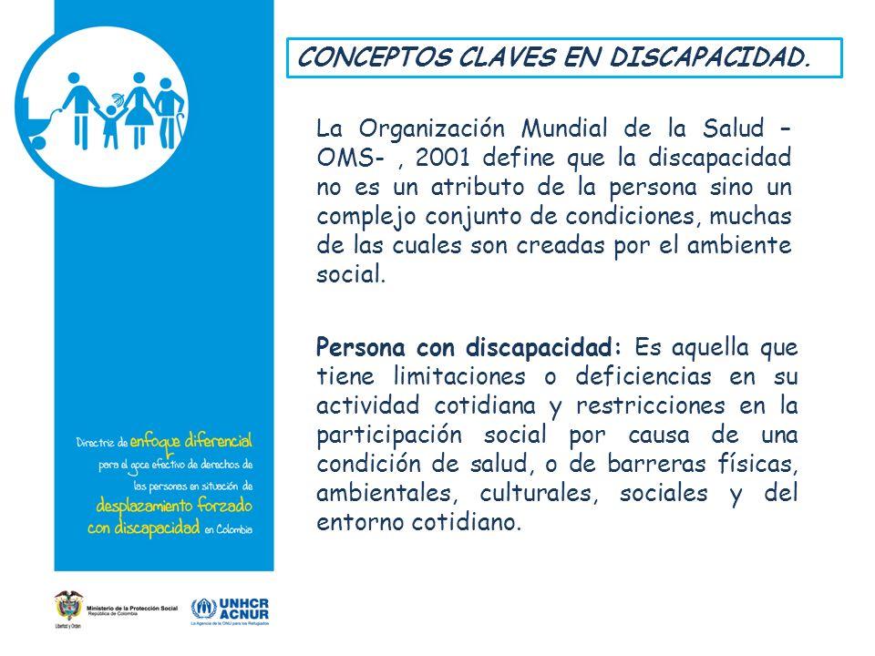 CONCEPTOS CLAVES EN DISCAPACIDAD. La Organización Mundial de la Salud – OMS-, 2001 define que la discapacidad no es un atributo de la persona sino un