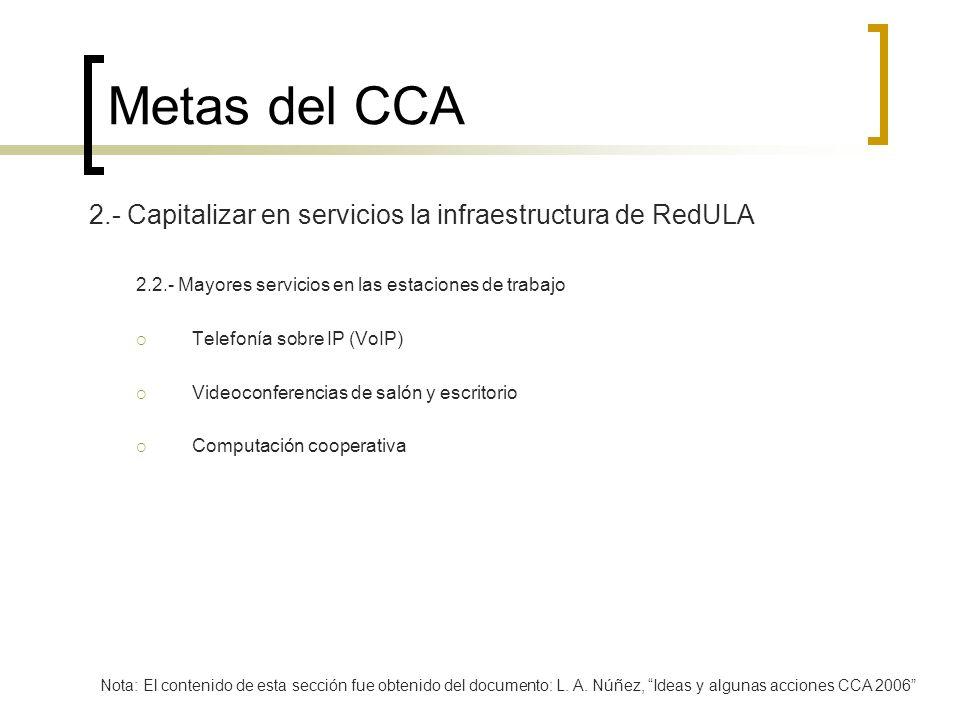 Metas del CCA 2.- Capitalizar en servicios la infraestructura de RedULA 2.2.- Mayores servicios en las estaciones de trabajo Telefonía sobre IP (VoIP)