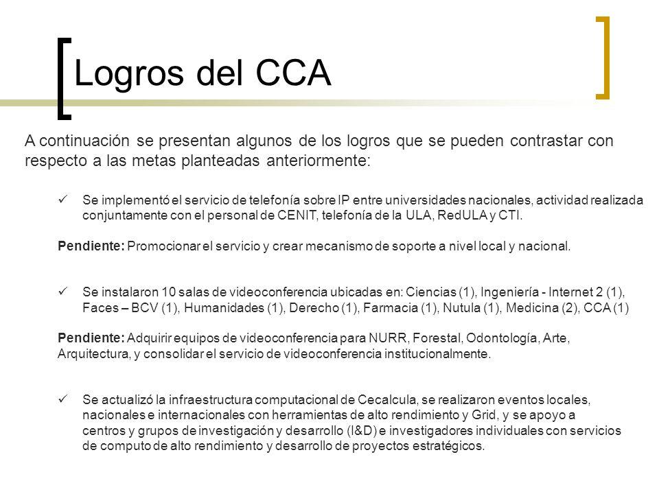 Logros del CCA A continuación se presentan algunos de los logros que se pueden contrastar con respecto a las metas planteadas anteriormente: Se implem