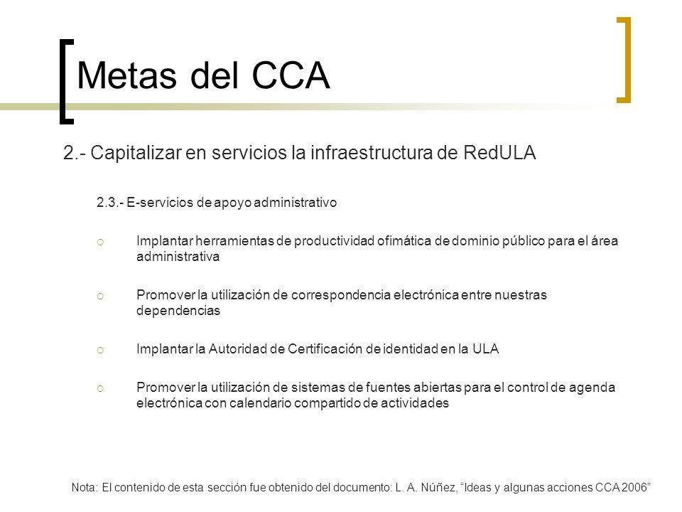 Metas del CCA 2.- Capitalizar en servicios la infraestructura de RedULA 2.3.- E-servicios de apoyo administrativo Implantar herramientas de productivi