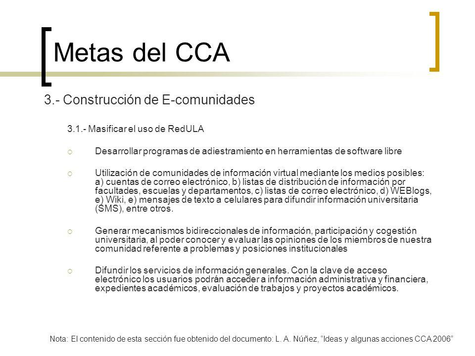 Metas del CCA 3.- Construcción de E-comunidades 3.1.- Masificar el uso de RedULA Desarrollar programas de adiestramiento en herramientas de software l