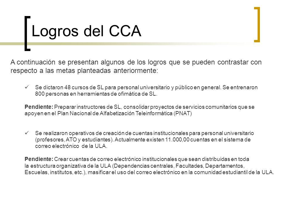 Logros del CCA A continuación se presentan algunos de los logros que se pueden contrastar con respecto a las metas planteadas anteriormente: Se dictar