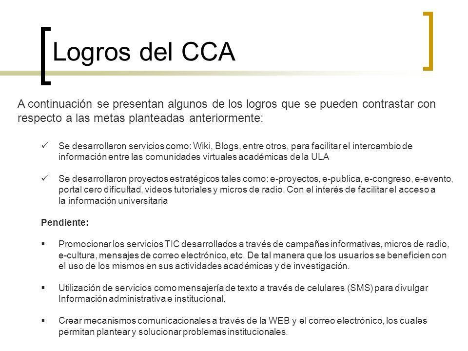 Logros del CCA A continuación se presentan algunos de los logros que se pueden contrastar con respecto a las metas planteadas anteriormente: Se desarr