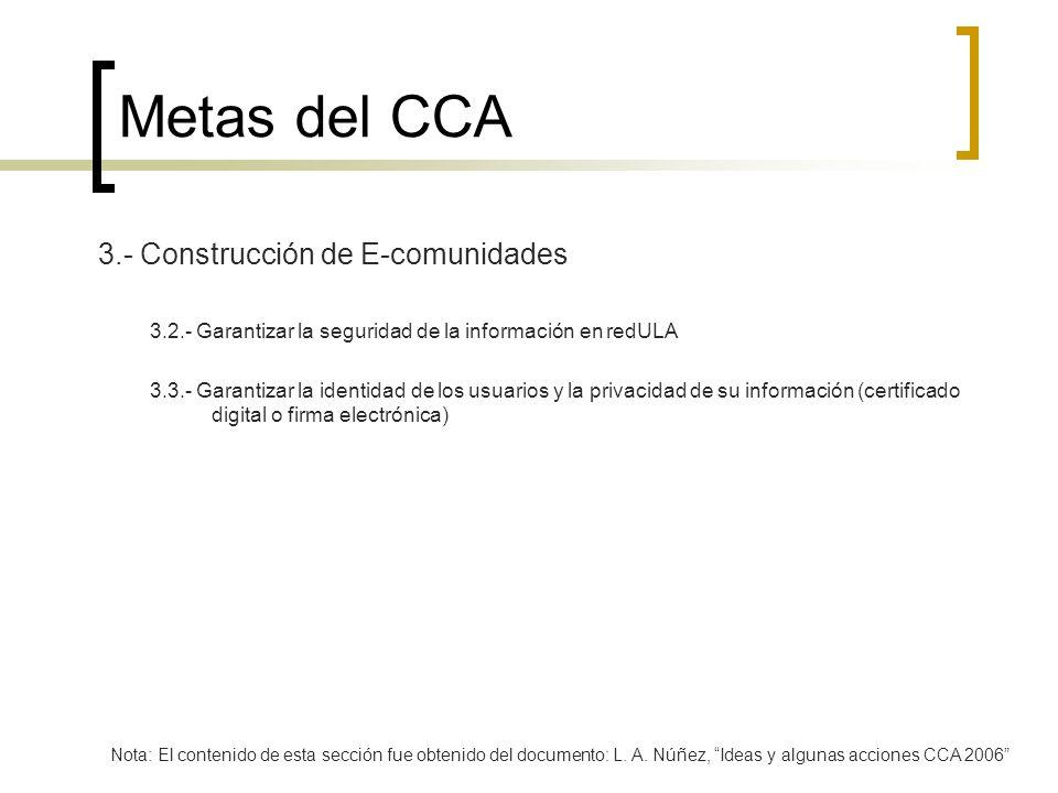 Metas del CCA 3.- Construcción de E-comunidades 3.2.- Garantizar la seguridad de la información en redULA 3.3.- Garantizar la identidad de los usuario