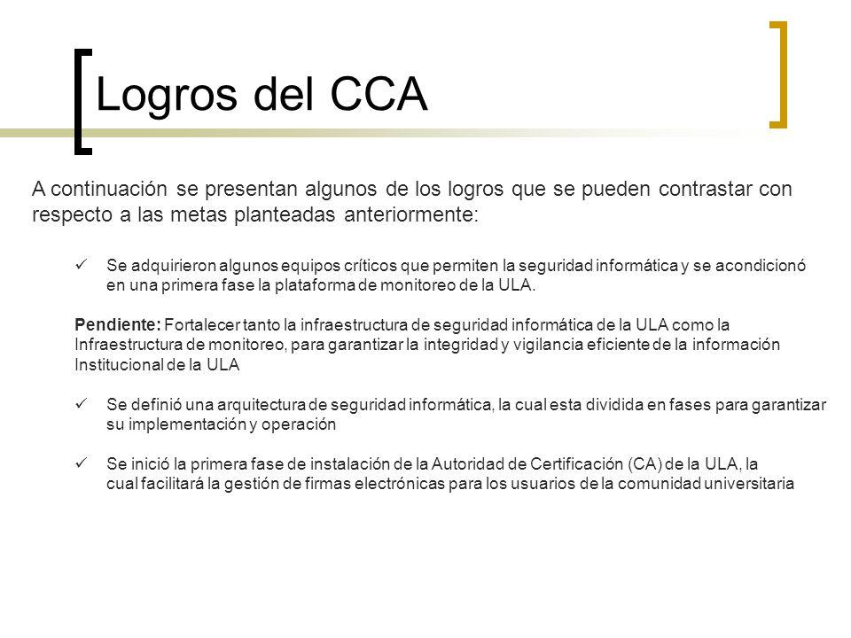 Logros del CCA A continuación se presentan algunos de los logros que se pueden contrastar con respecto a las metas planteadas anteriormente: Se adquir
