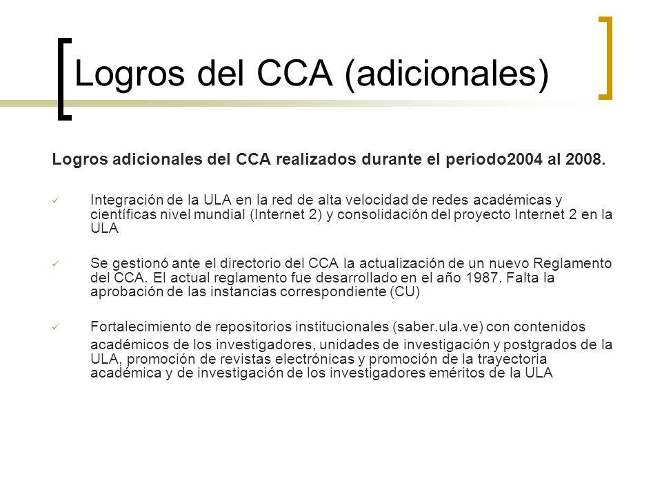 Logros del CCA (adicionales) Logros adicionales del CCA realizados durante el periodo2004 al 2008. Integración de la ULA en la red de alta velocidad d