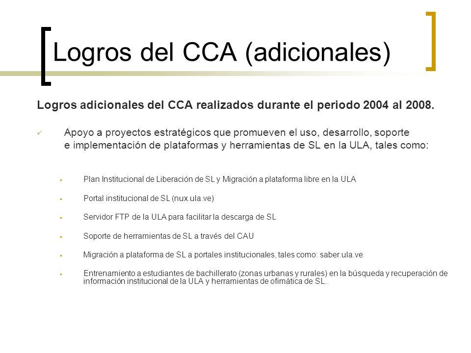 Logros del CCA (adicionales) Logros adicionales del CCA realizados durante el periodo 2004 al 2008. Apoyo a proyectos estratégicos que promueven el us