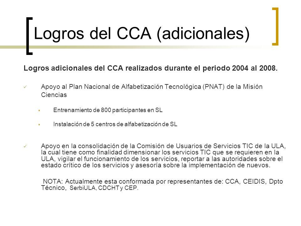Logros del CCA (adicionales) Logros adicionales del CCA realizados durante el periodo 2004 al 2008. Apoyo al Plan Nacional de Alfabetización Tecnológi