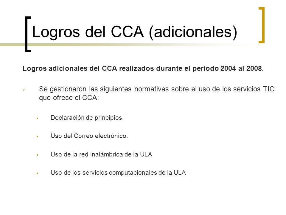 Logros del CCA (adicionales) Logros adicionales del CCA realizados durante el periodo 2004 al 2008. Se gestionaron las siguientes normativas sobre el
