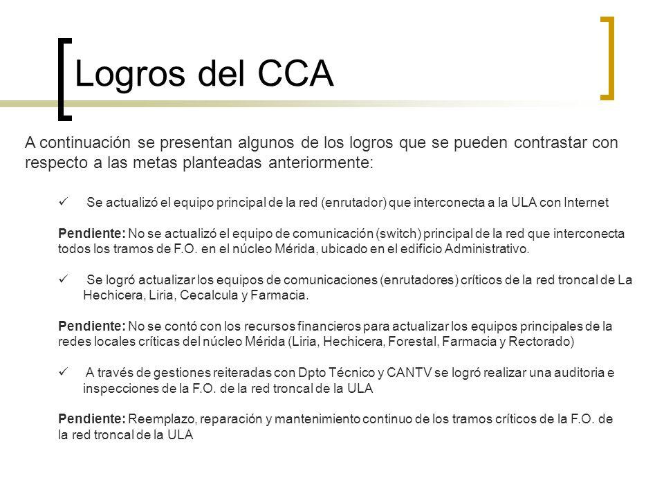 Logros del CCA A continuación se presentan algunos de los logros que se pueden contrastar con respecto a las metas planteadas anteriormente: Se actual