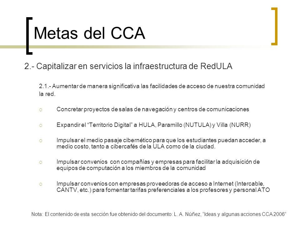 Metas del CCA 2.- Capitalizar en servicios la infraestructura de RedULA 2.1.- Aumentar de manera significativa las facilidades de acceso de nuestra co