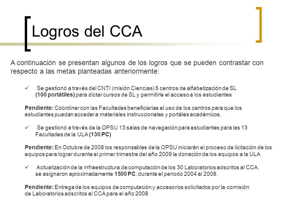 Logros del CCA A continuación se presentan algunos de los logros que se pueden contrastar con respecto a las metas planteadas anteriormente: Se gestio
