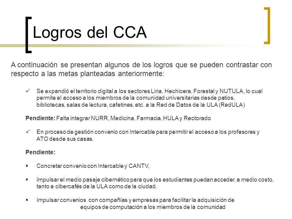 Logros del CCA A continuación se presentan algunos de los logros que se pueden contrastar con respecto a las metas planteadas anteriormente: Se expand