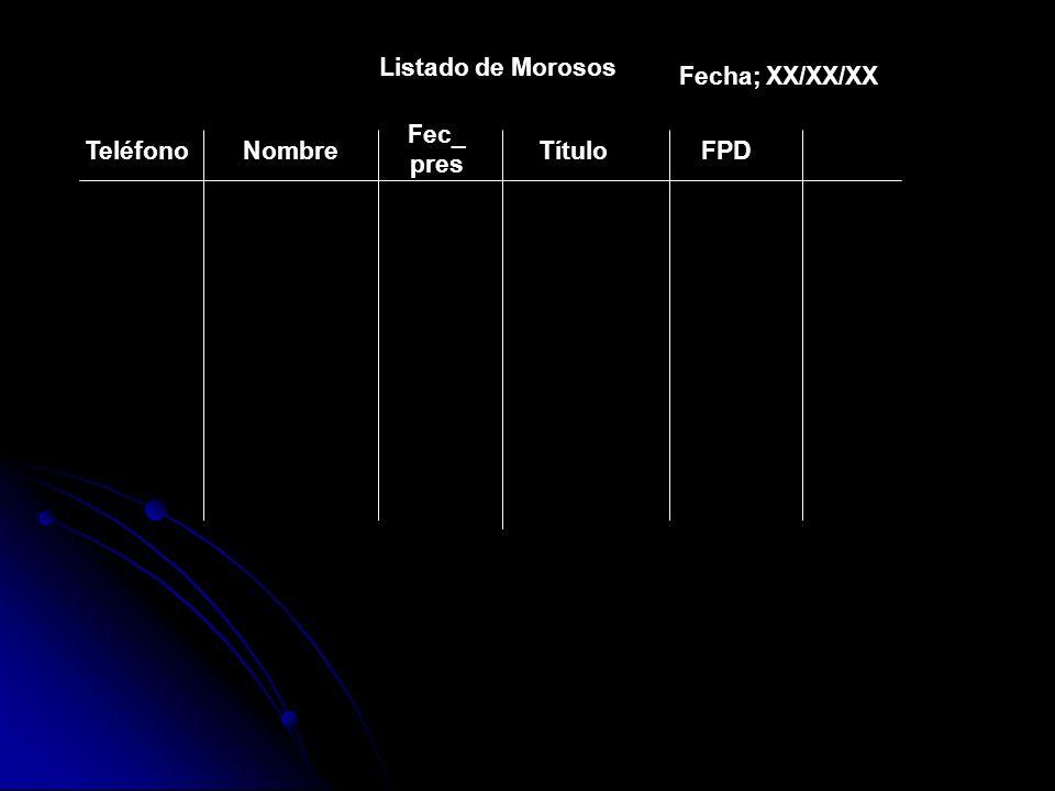 Listado de Morosos TeléfonoNombre Fec_ pres TítuloFPD Fecha; XX/XX/XX
