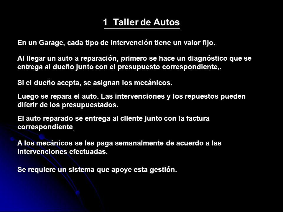 1 Taller de Autos En un Garage, cada tipo de intervención tiene un valor fijo. Al llegar un auto a reparación, primero se hace un diagnóstico que se e