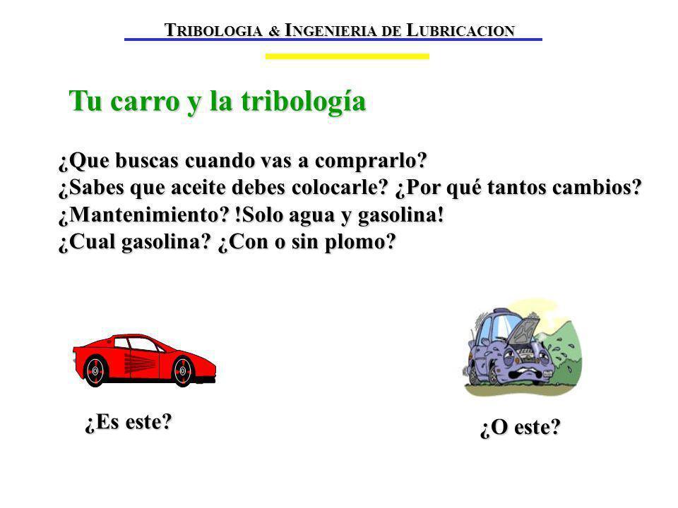 Tu carro y la tribología ¿Es este.¿O este. ¿Que buscas cuando vas a comprarlo.