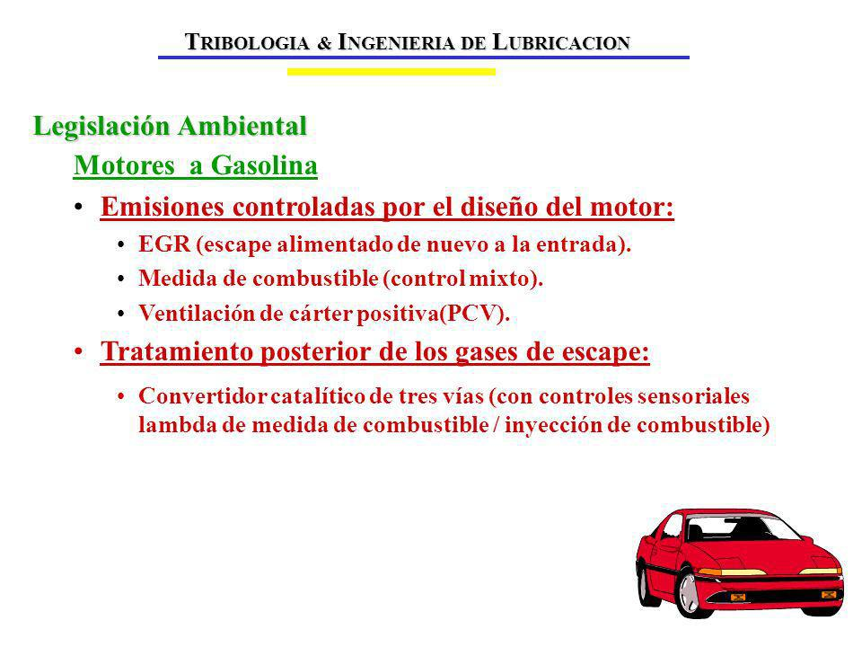 Motores a Gasolina Emisiones controladas por el diseño del motor: EGR (escape alimentado de nuevo a la entrada).