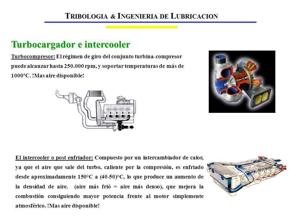 El intercooler o post enfriador: Compuesto por un intercambiador de calor, ya que el aire que sale del turbo, caliente por la compresión, es enfriado desde aproximadamente 150°C a (40-50)°C, lo que produce un aumento de la densidad de aire.
