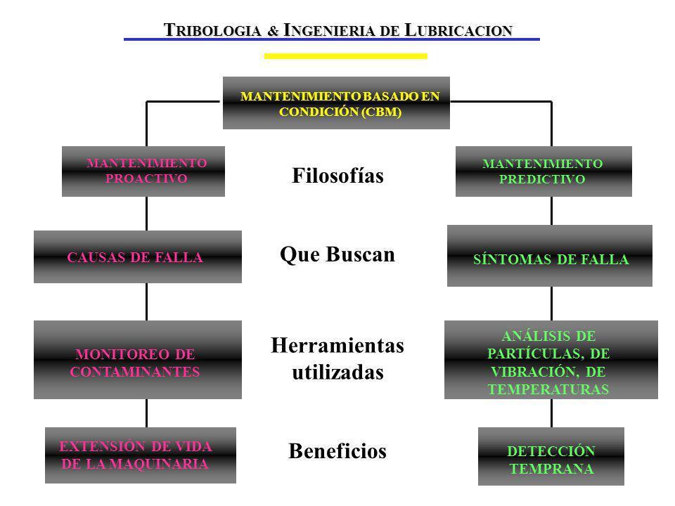 MARCO TEÓRICO Beneficios Que Buscan Herramientas utilizadas Filosofías MANTENIMIENTO BASADO EN CONDICIÓN (CBM) MANTENIMIENTO PROACTIVO CAUSAS DE FALLA MONITOREO DE CONTAMINANTES EXTENSIÓN DE VIDA DE LA MAQUINARIA MANTENIMIENTO PREDICTIVO SÍNTOMAS DE FALLA ANÁLISIS DE PARTÍCULAS, DE VIBRACIÓN, DE TEMPERATURAS DETECCIÓN TEMPRANA T RIBOLOGIA & I NGENIERIA DE L UBRICACION