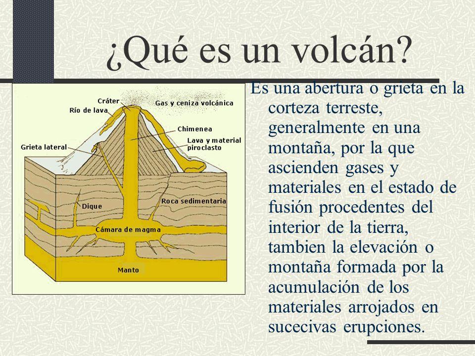 ¿Qué es un volcán? Es una abertura o grieta en la corteza terreste, generalmente en una montaña, por la que ascienden gases y materiales en el estado