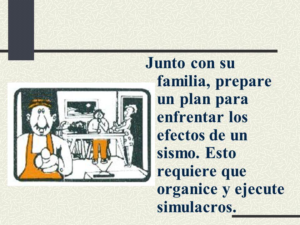 Junto con su familia, prepare un plan para enfrentar los efectos de un sismo. Esto requiere que organice y ejecute simulacros.