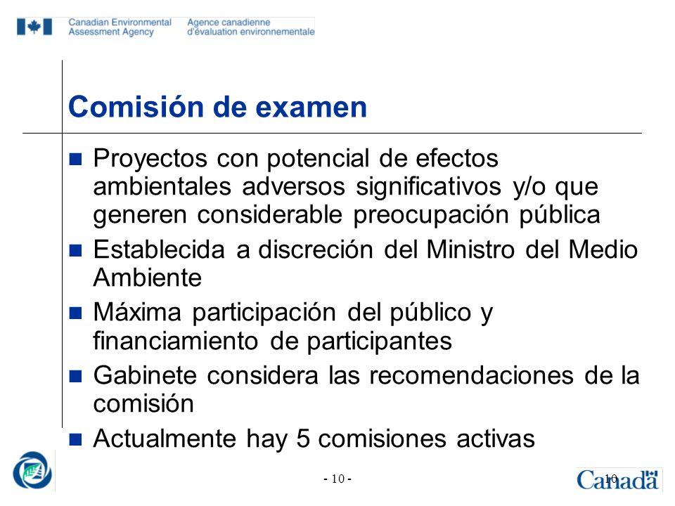 - 10 -10 Comisión de examen Proyectos con potencial de efectos ambientales adversos significativos y/o que generen considerable preocupación pública E