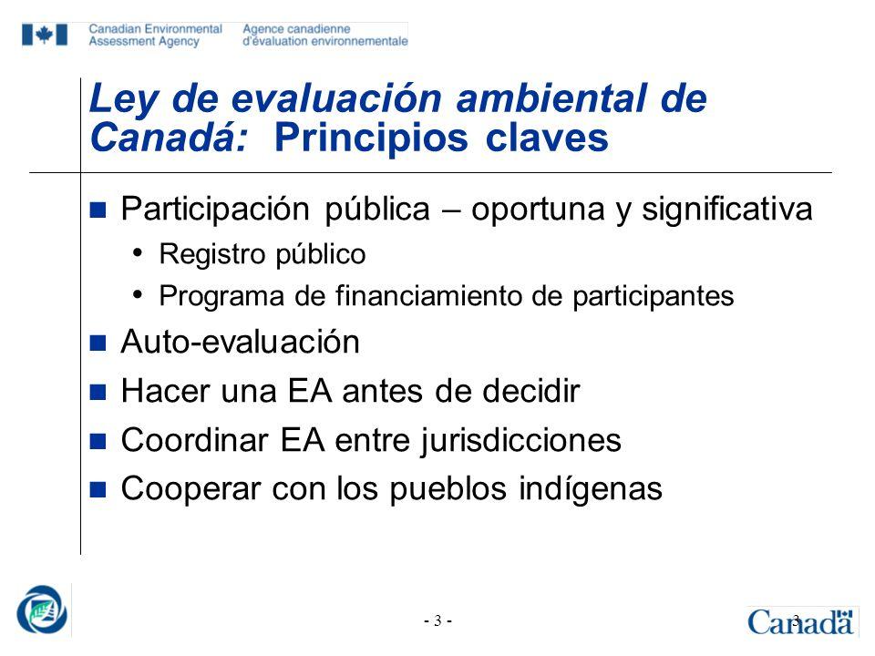 - 3 -3 Ley de evaluación ambiental de Canadá: Principios claves Participación pública – oportuna y significativa Registro público Programa de financia