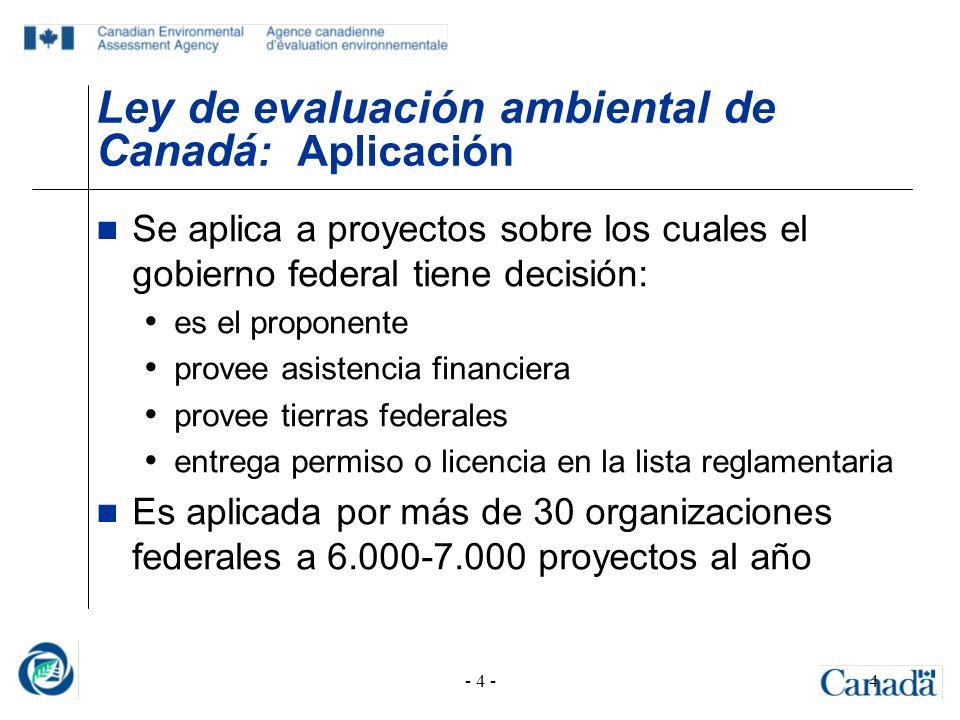 - 4 -4 Ley de evaluación ambiental de Canadá : Aplicación Se aplica a proyectos sobre los cuales el gobierno federal tiene decisión: es el proponente