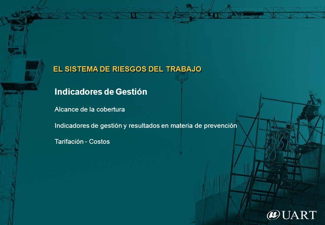 Indicadores de Gestión Alcance de la cobertura Indicadores de gestión y resultados en materia de prevención Tarifación - Costos EL SISTEMA DE RIESGOS