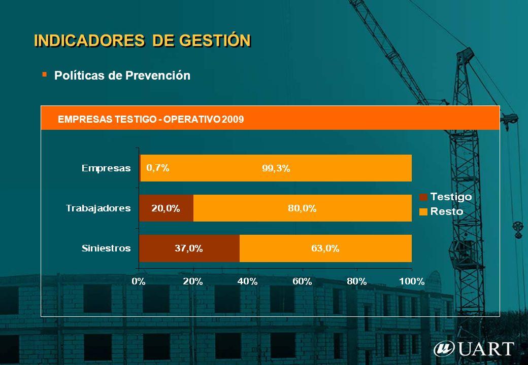 Políticas de Prevención INDICADORES DE GESTIÓN EMPRESAS TESTIGO - OPERATIVO 2009