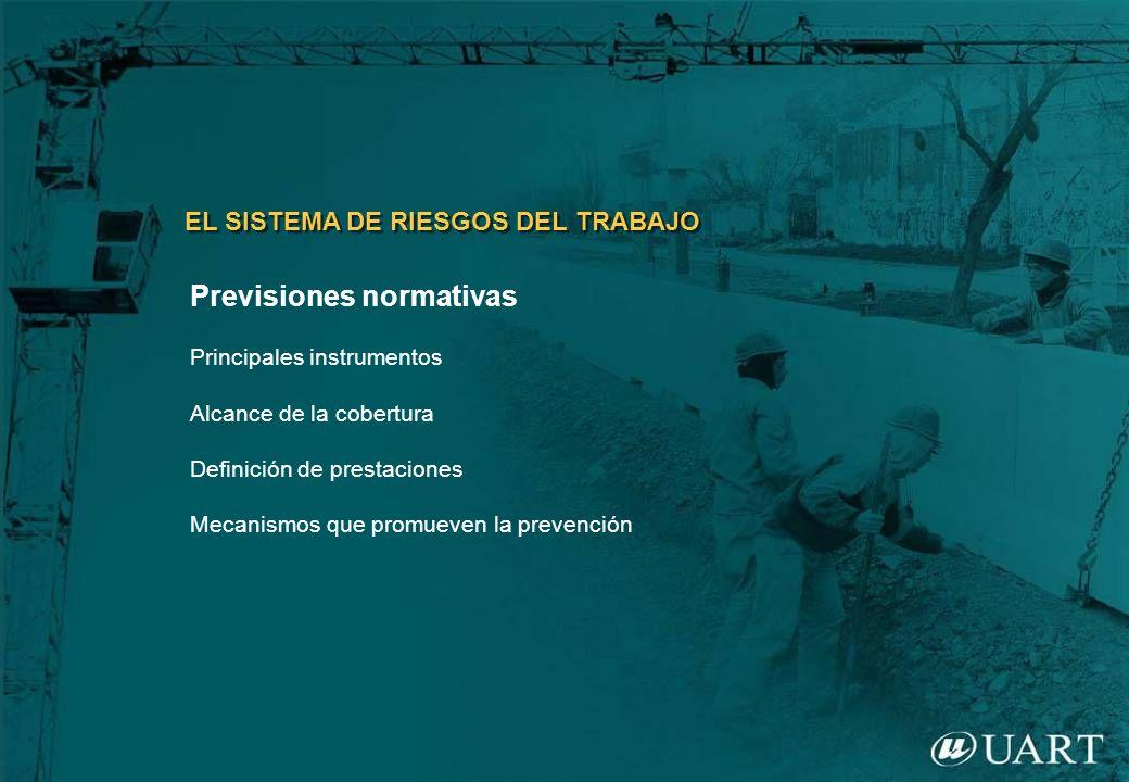 Previsiones normativas Principales instrumentos Alcance de la cobertura Definición de prestaciones Mecanismos que promueven la prevención EL SISTEMA D