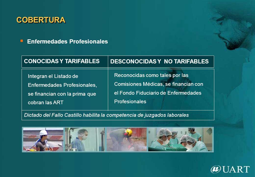 CONOCIDAS Y TARIFABLES Integran el Listado de Enfermedades Profesionales, se financian con la prima que cobran las ART DESCONOCIDAS Y NO TARIFABLES Re