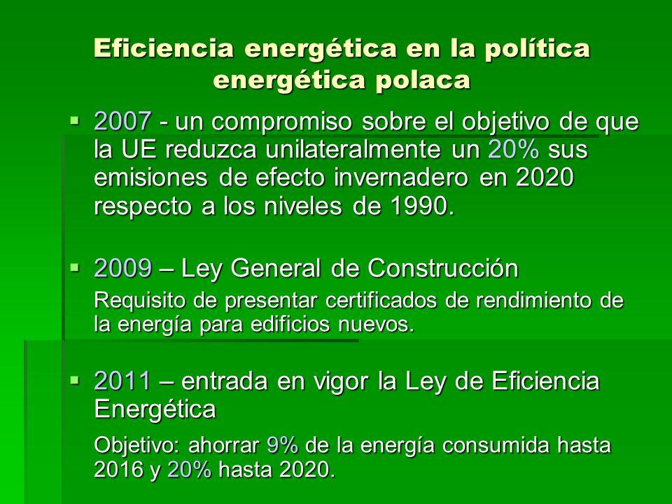 Eficiencia energética en la política energética polaca Las medidas tomadas por el gobierno polaco para incrementar y promover la eficiencia energética en el país: -Ahorro de energía en la administración pública -Mecanismos de apoyo (certificados blancos) -Campaña publica ¡Ahorre energía.