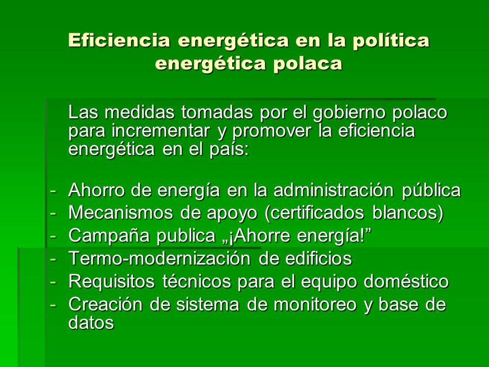 Eficiencia energética en la política energética polaca Las medidas tomadas por el gobierno polaco para incrementar y promover la eficiencia energética