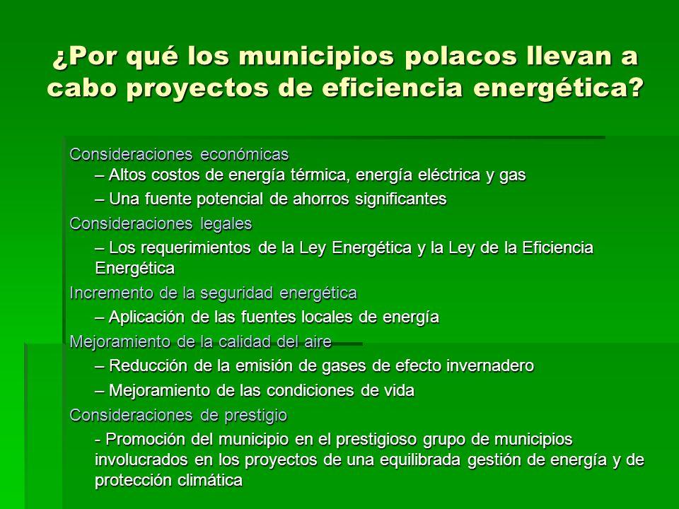 ¿Por qué los municipios polacos llevan a cabo proyectos de eficiencia energética? Consideraciones económicas – Altos costos de energía térmica, energí