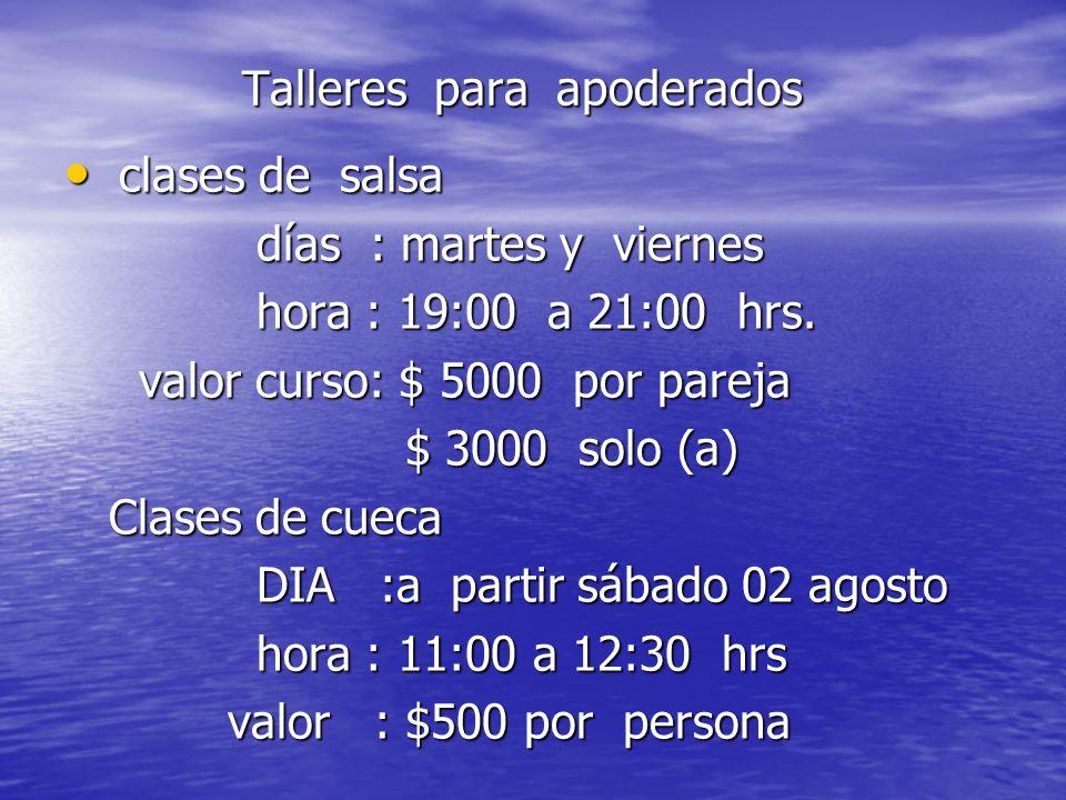 Talleres para apoderados Talleres para apoderados clases de salsa clases de salsa días : martes y viernes días : martes y viernes hora : 19:00 a 21:00