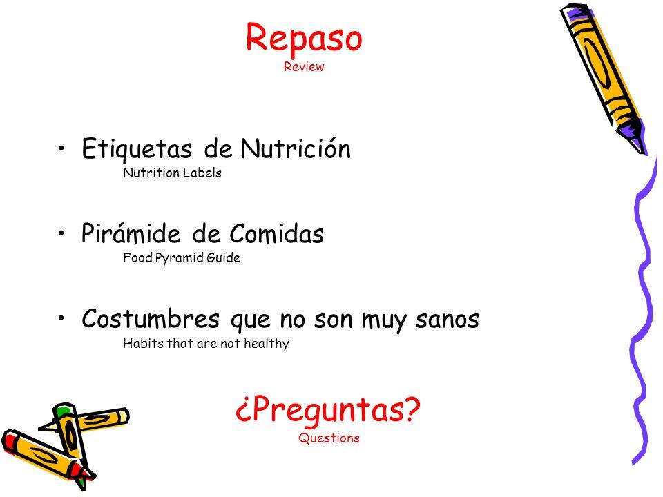 Repaso Review Etiquetas de Nutrición Nutrition Labels Pirámide de Comidas Food Pyramid Guide Costumbres que no son muy sanos Habits that are not healthy ¿Preguntas.