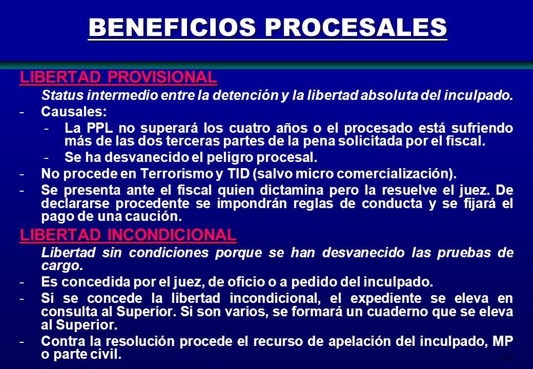 102 BENEFICIOS PROCESALES LIBERTAD PROVISIONAL Status intermedio entre la detención y la libertad absoluta del inculpado. -Causales: -La PPL no supera