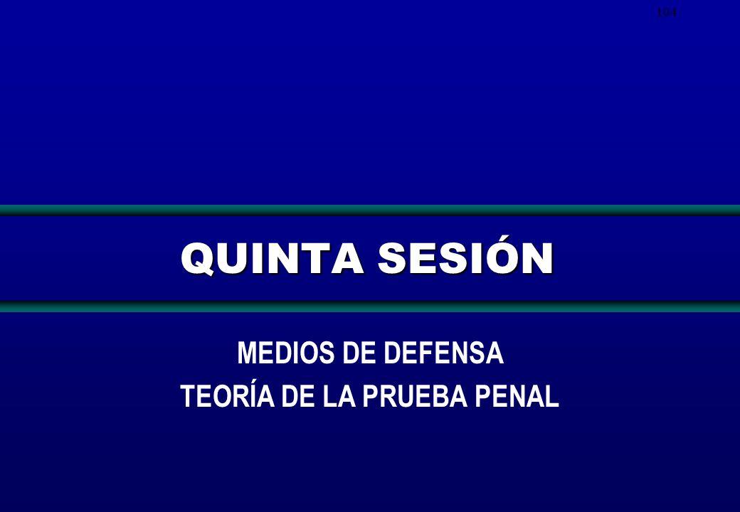 104 QUINTA SESIÓN MEDIOS DE DEFENSA TEORÍA DE LA PRUEBA PENAL